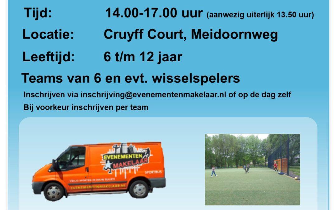 Herfstvakantie; Voetbaltoernooi Cruyff Court van der Pekbuurt Amsterdam